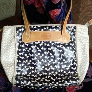 Fossil coated canvas, leather trim tote